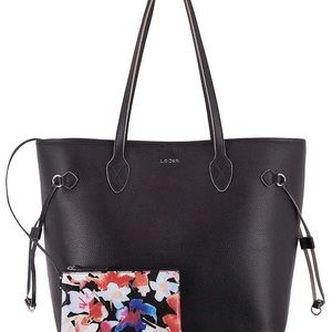 Black leather tote with wristlet